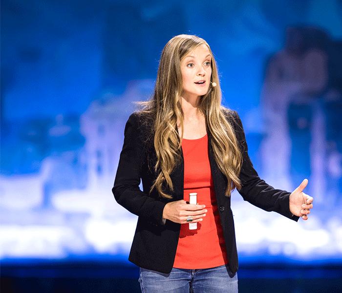 Avery Bang speaking at TED Women 2017.