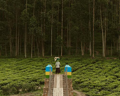 woman crossing bridge with basket on head