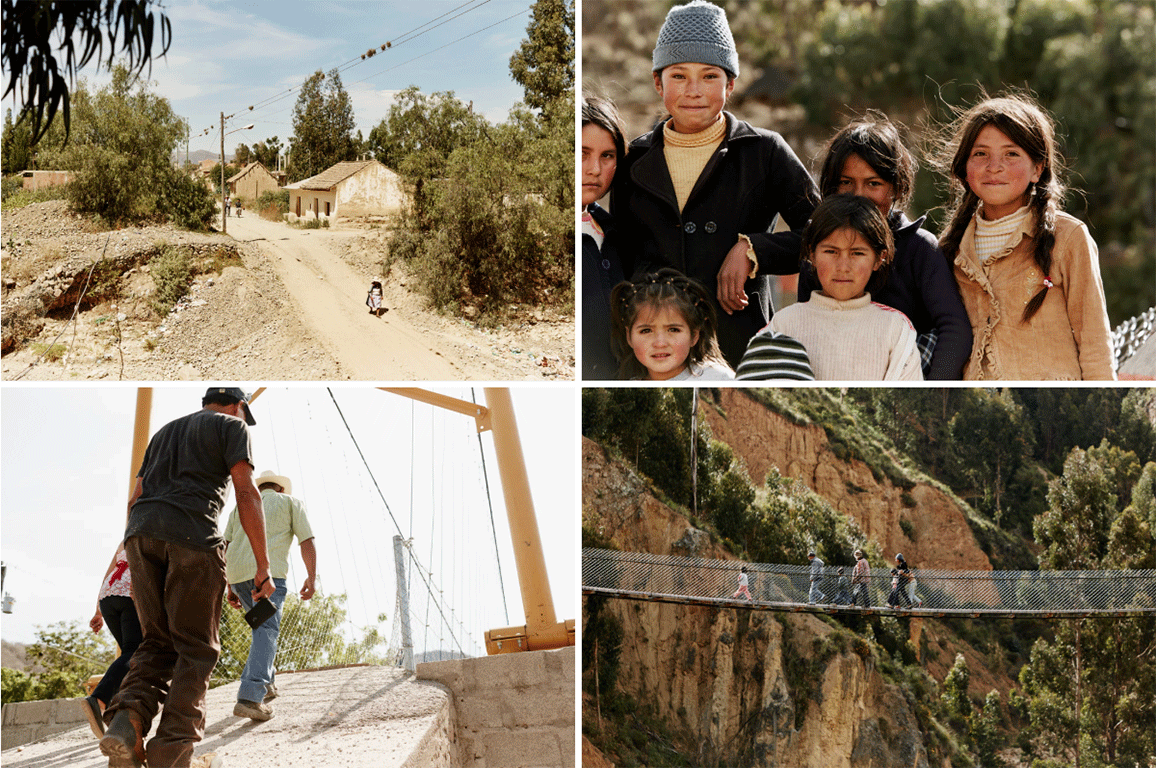 people on bridges in four different images from bolivia