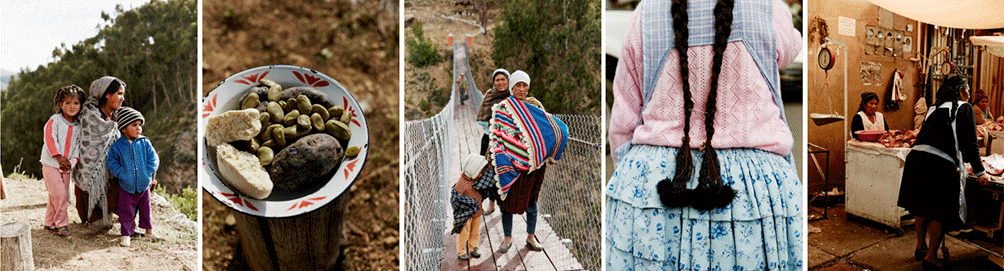 combination of 5 images of children in bolivia