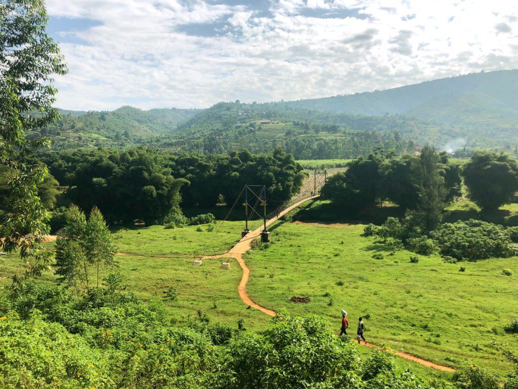 suspension bridge, green Rwanda countryside
